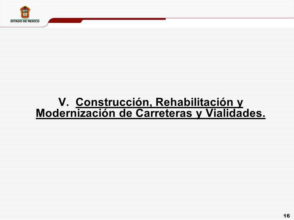 V. Construcción, Rehabilitación y Modernización de Carreteras y Vialidades.