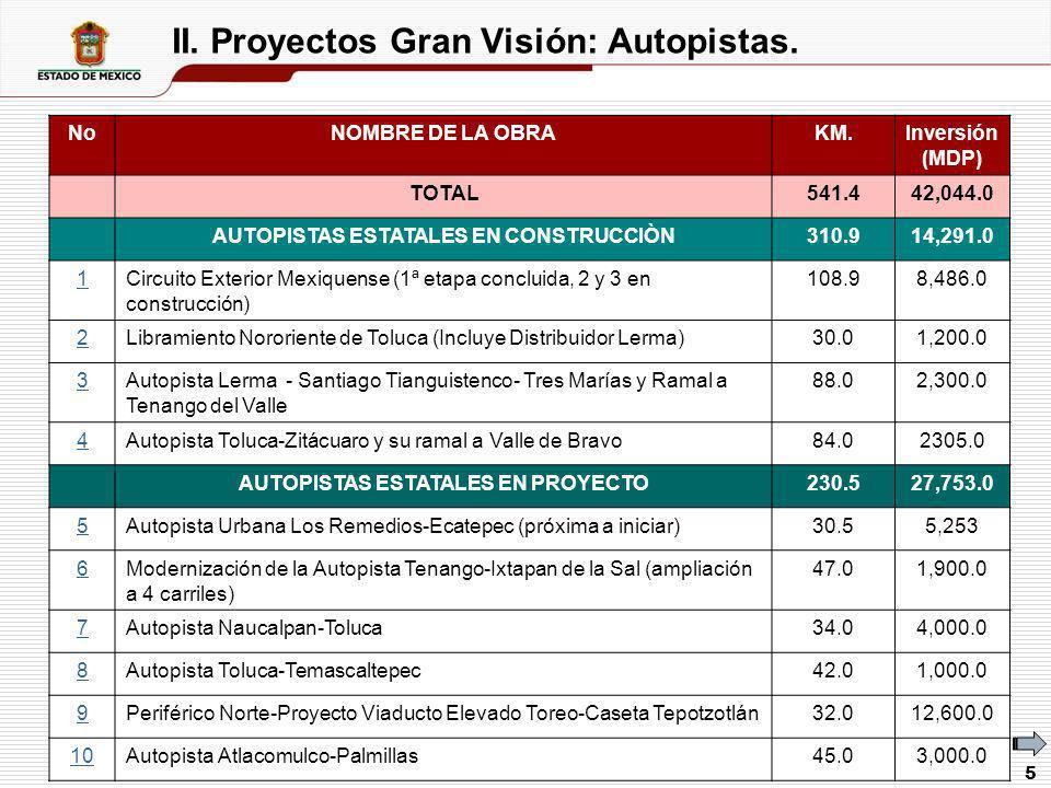 II. Proyectos Gran Visión: Autopistas.