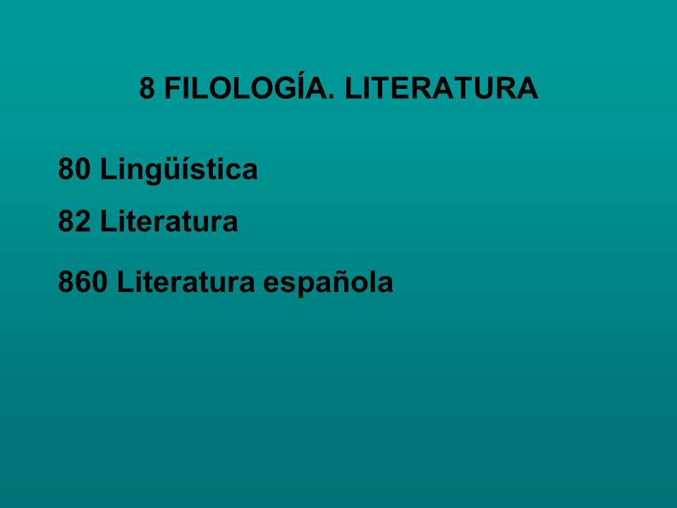 8 FILOLOGÍA. LITERATURA 80 Lingüística 82 Literatura 860 Literatura española