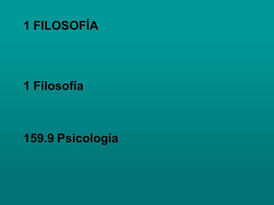 1 FILOSOFÍA 1 Filosofía 159.9 Psicología