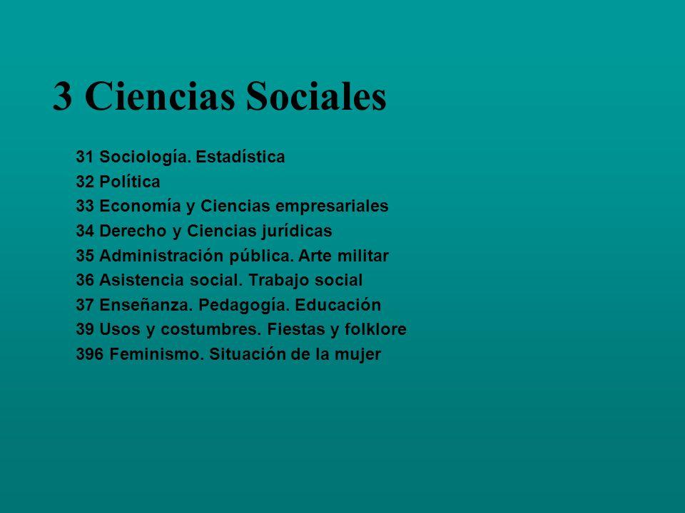 3 Ciencias Sociales 31 Sociología. Estadística 32 Política