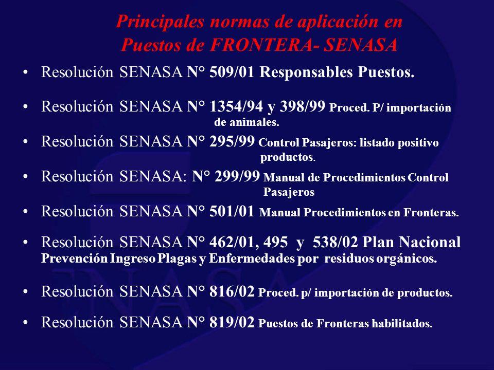 Principales normas de aplicación en Puestos de FRONTERA- SENASA