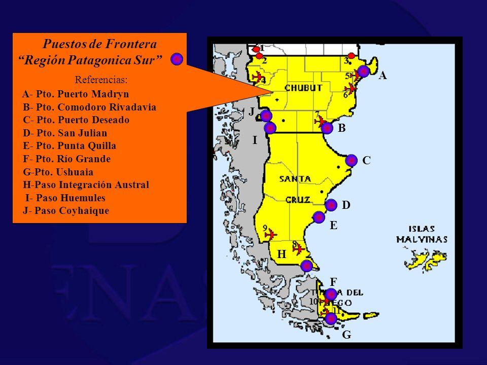 Referencias: Puestos de Frontera Región Patagonica Sur A J B I C D E