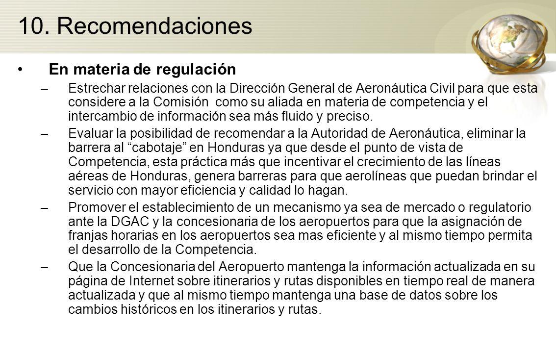 10. Recomendaciones En materia de regulación