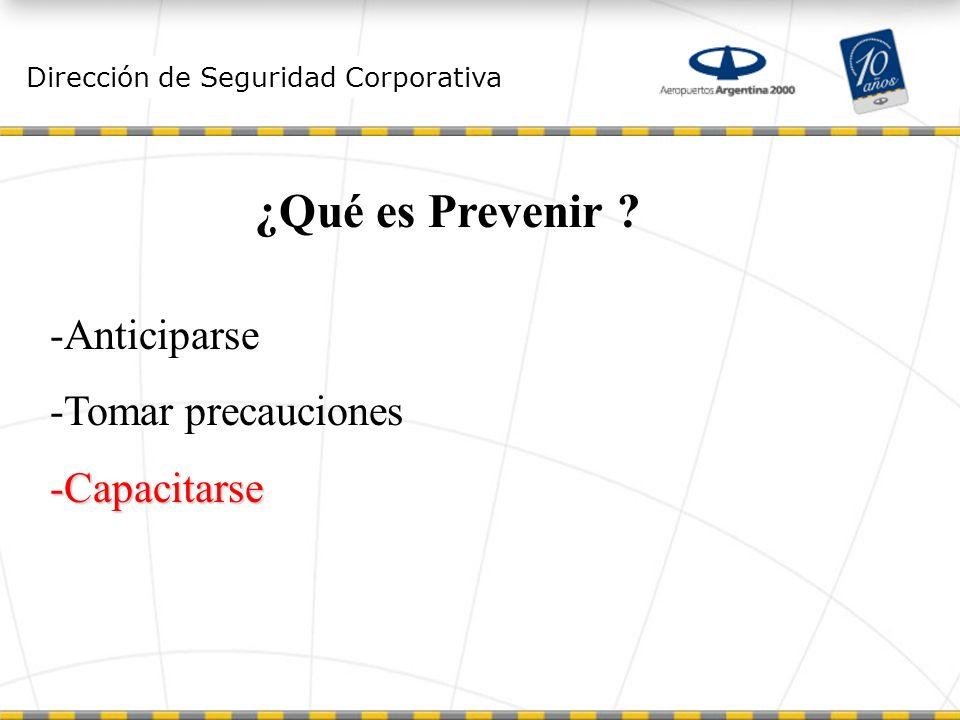 ¿Qué es Prevenir Anticiparse Tomar precauciones Capacitarse