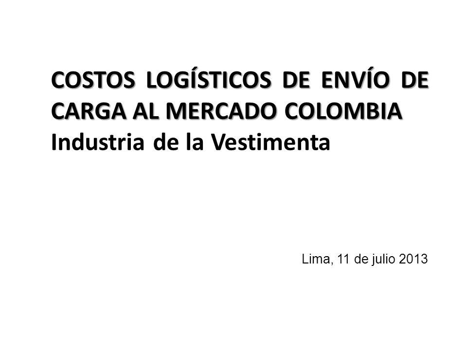 COSTOS LOGÍSTICOS DE ENVÍO DE CARGA AL MERCADO COLOMBIA