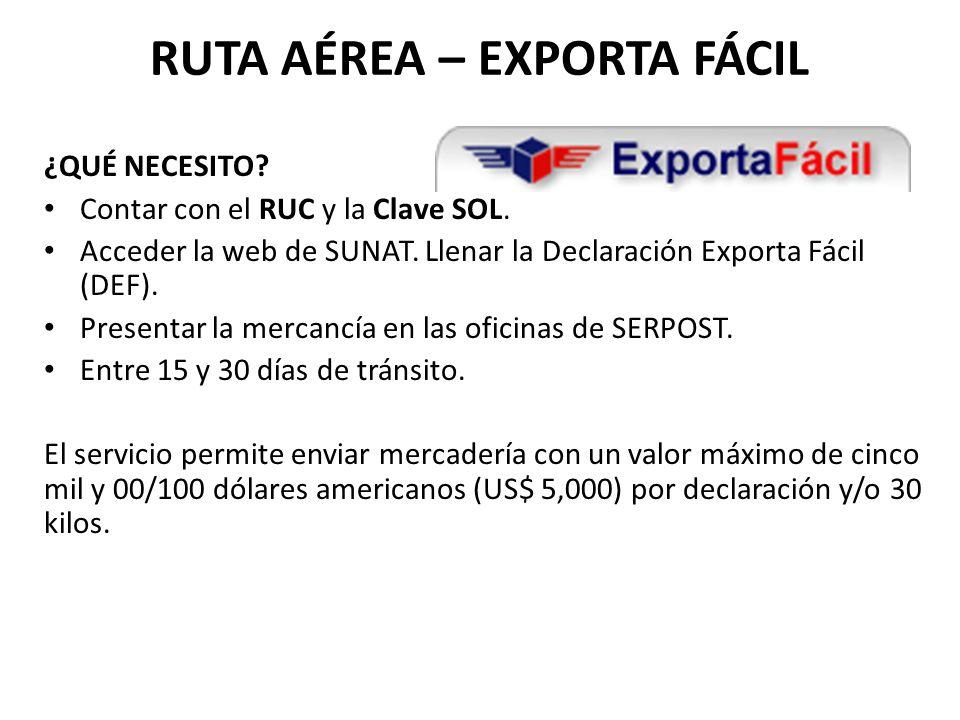RUTA AÉREA – EXPORTA FÁCIL