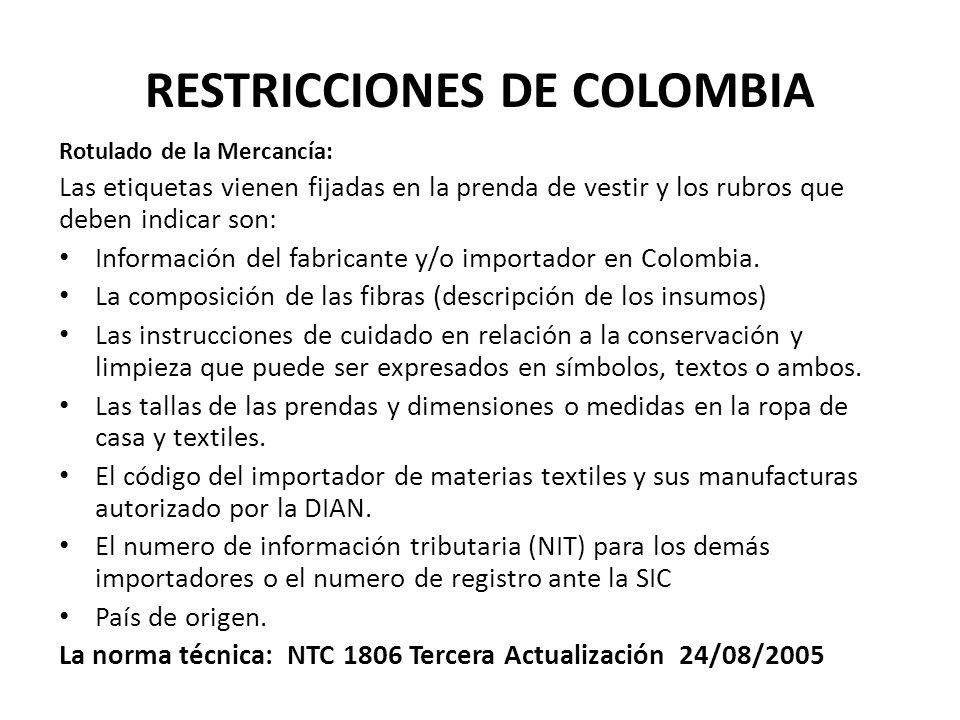 RESTRICCIONES DE COLOMBIA