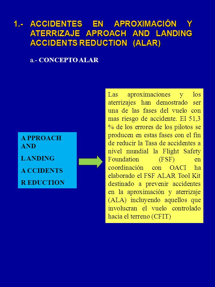 A PPROACH AND L ANDING. A CCIDENTS. R EDUCTION. 1.- ACCIDENTES EN APROXIMACIÓN Y ATERRIZAJE APROACH AND LANDING ACCIDENTS REDUCTION (ALAR)