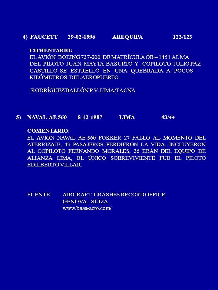 4) FAUCETT 29-02-1996 AREQUIPA 123/123 COMENTARIO: EL AVIÓN BOEING 737-200 DE MATRÍCULA OB – 1451 AL MA.