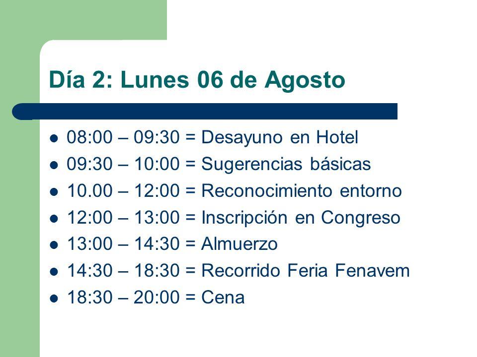 Día 2: Lunes 06 de Agosto 08:00 – 09:30 = Desayuno en Hotel