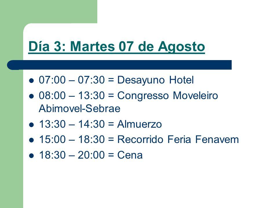 Día 3: Martes 07 de Agosto 07:00 – 07:30 = Desayuno Hotel