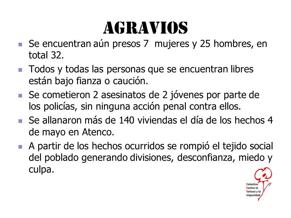 Agravios Se encuentran aún presos 7 mujeres y 25 hombres, en total 32.