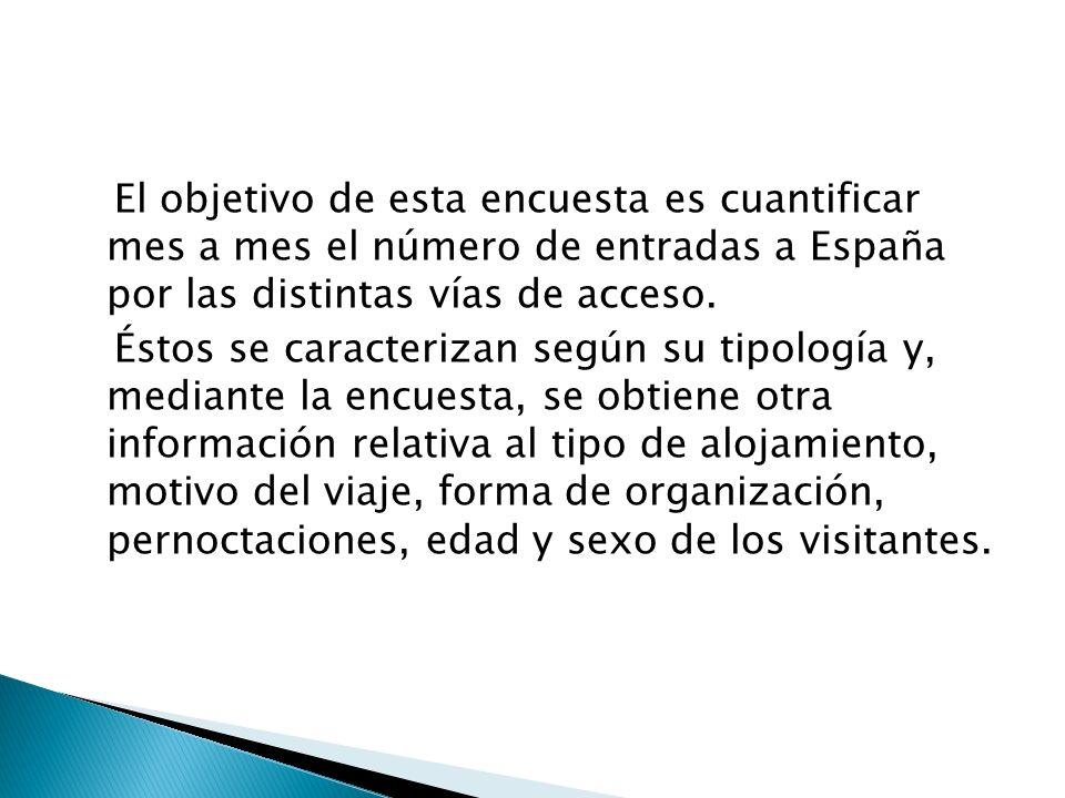 El objetivo de esta encuesta es cuantificar mes a mes el número de entradas a España por las distintas vías de acceso.