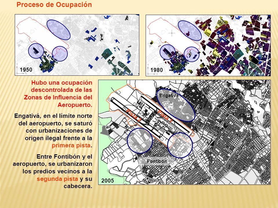 Proceso de Ocupación 1950. 1980. Hubo una ocupación descontrolada de las Zonas de Influencia del Aeropuerto.