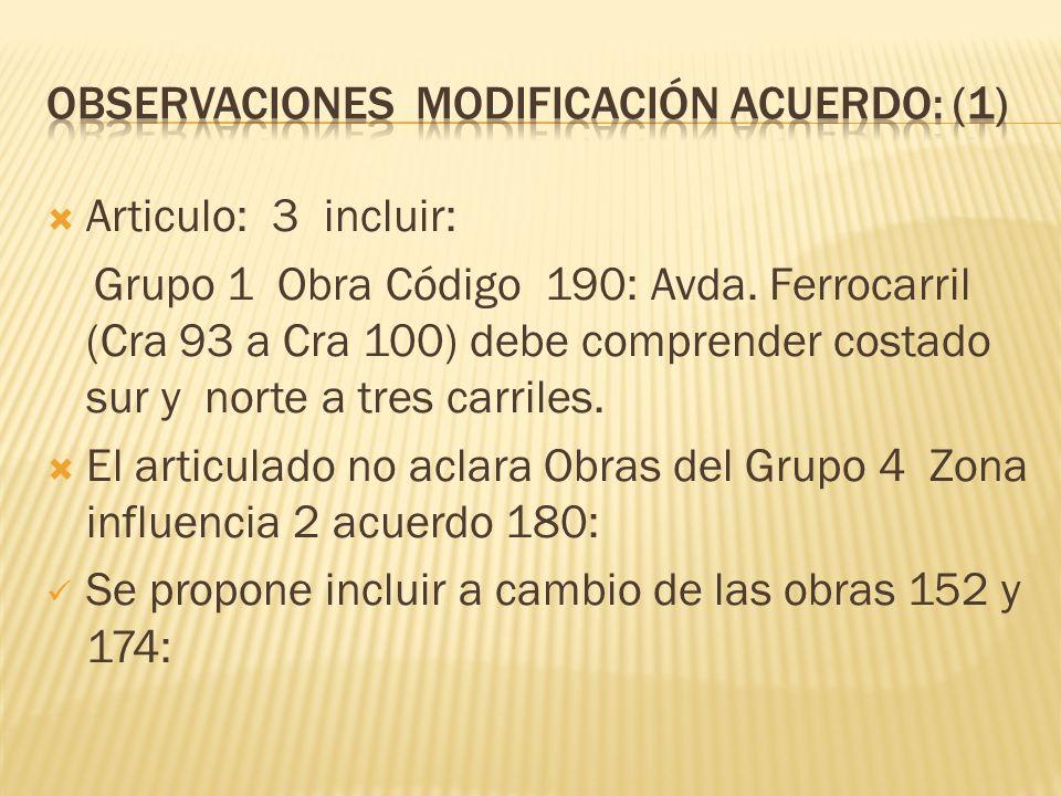 Observaciones modificación acuerdo: (1)