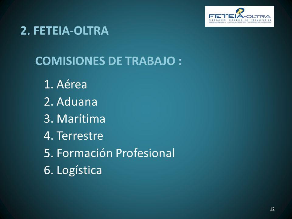 2. FETEIA-OLTRA COMISIONES DE TRABAJO : 1. Aérea. 2. Aduana. 3. Marítima. 4. Terrestre. 5. Formación Profesional.