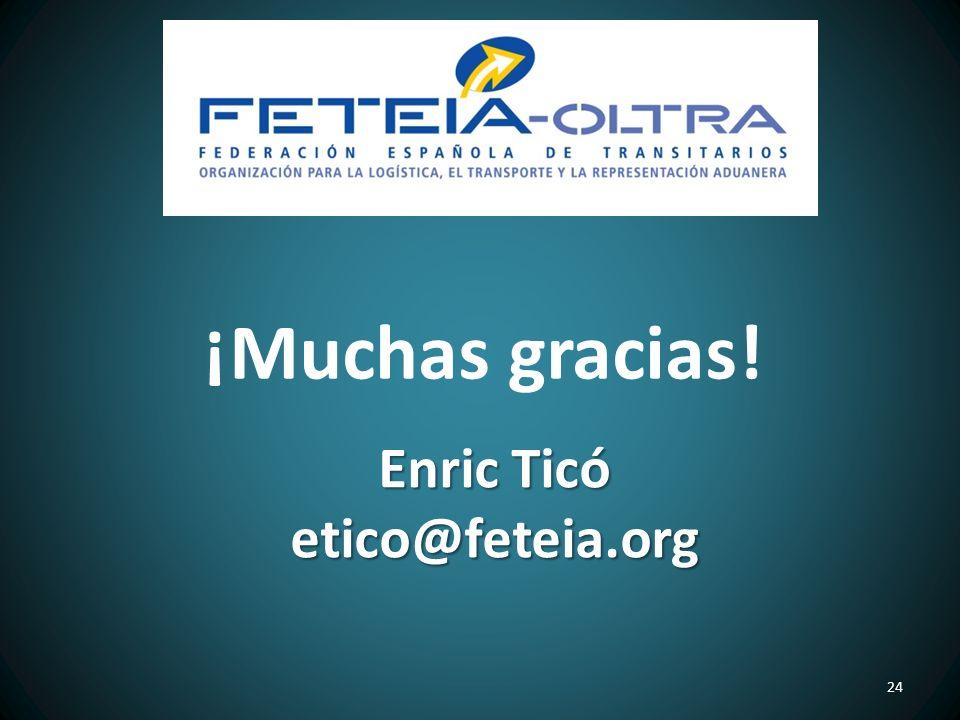 ¡Muchas gracias! Enric Ticó etico@feteia.org
