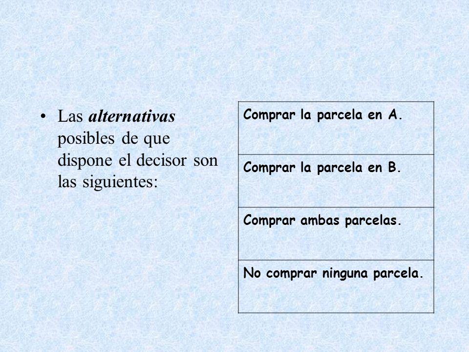 Las alternativas posibles de que dispone el decisor son las siguientes: