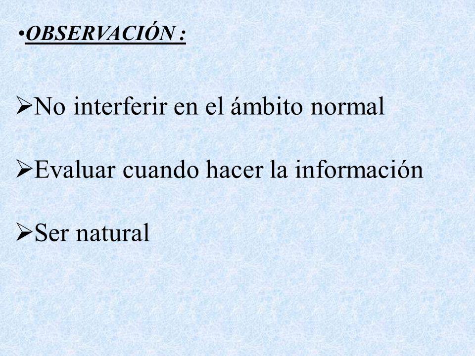 No interferir en el ámbito normal Evaluar cuando hacer la información