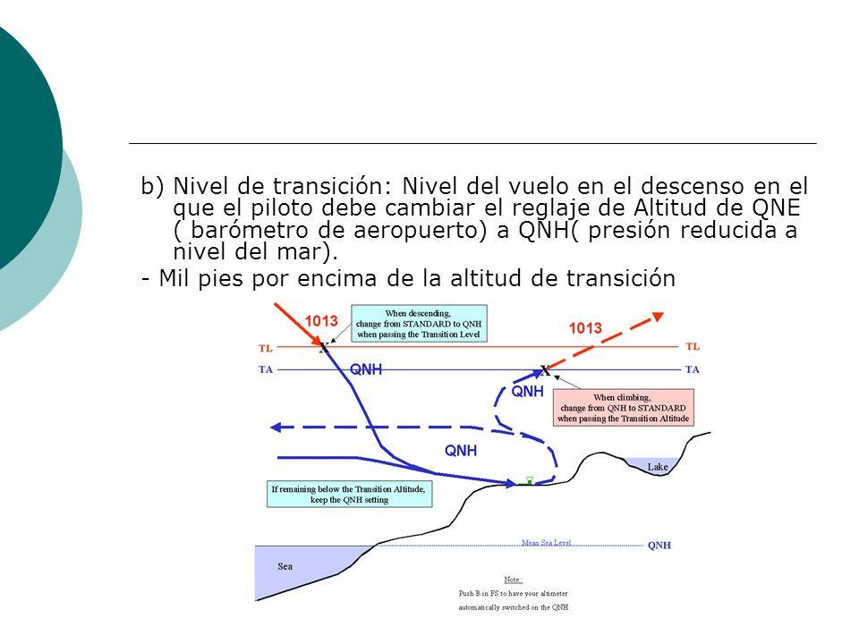 b) Nivel de transición: Nivel del vuelo en el descenso en el que el piloto debe cambiar el reglaje de Altitud de QNE ( barómetro de aeropuerto) a QNH( presión reducida a nivel del mar).