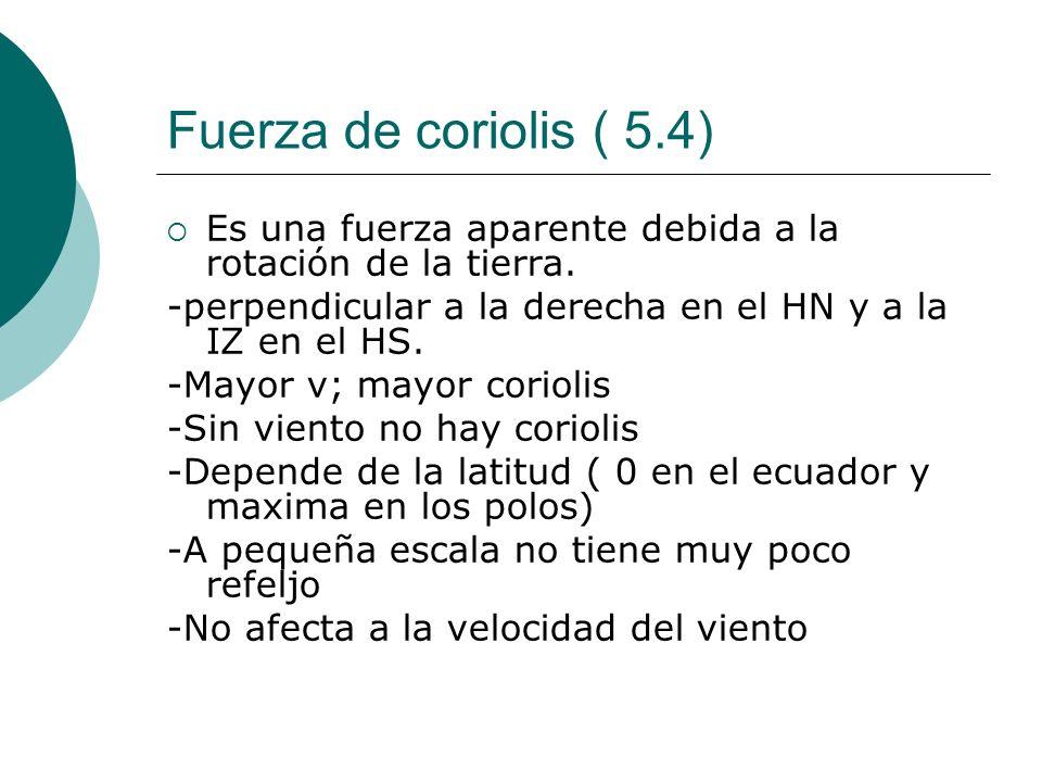 Fuerza de coriolis ( 5.4) Es una fuerza aparente debida a la rotación de la tierra. -perpendicular a la derecha en el HN y a la IZ en el HS.
