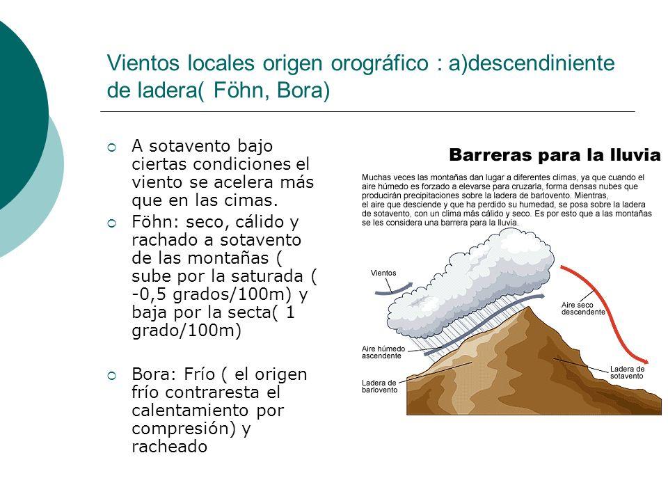 Vientos locales origen orográfico : a)descendiniente de ladera( Föhn, Bora)