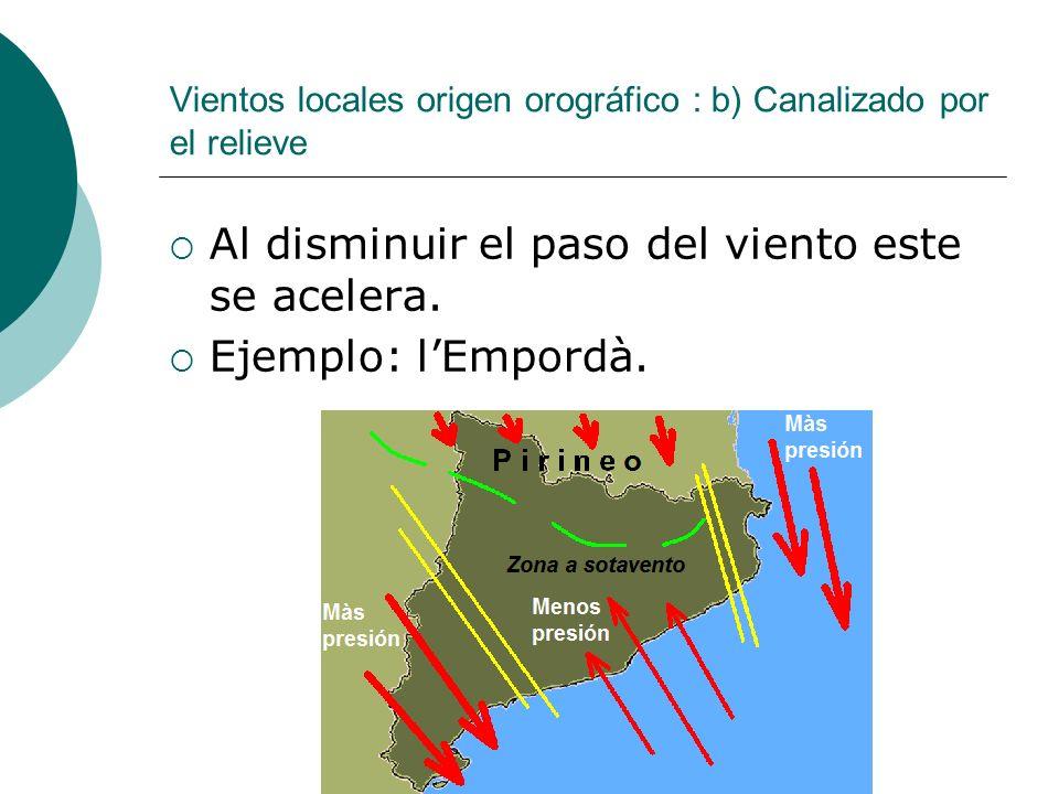 Vientos locales origen orográfico : b) Canalizado por el relieve