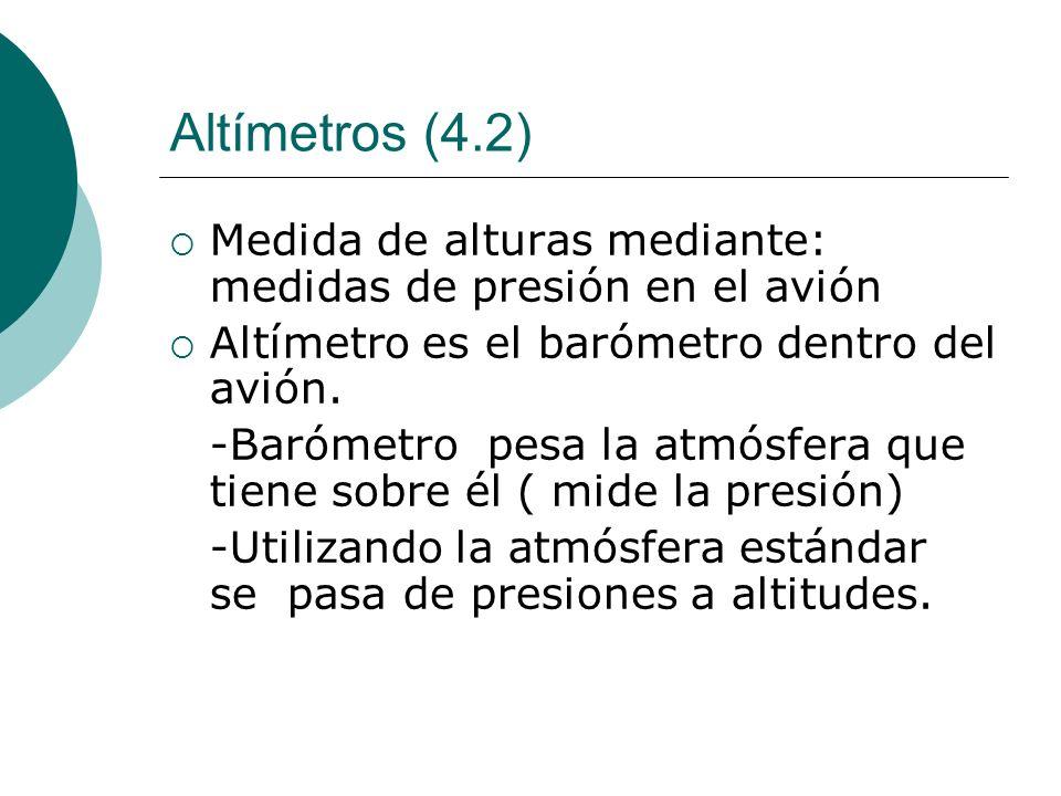 Altímetros (4.2) Medida de alturas mediante: medidas de presión en el avión. Altímetro es el barómetro dentro del avión.