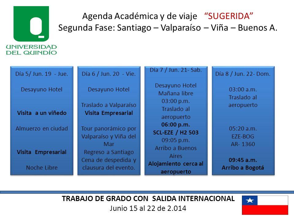 Agenda Académica y de viaje SUGERIDA