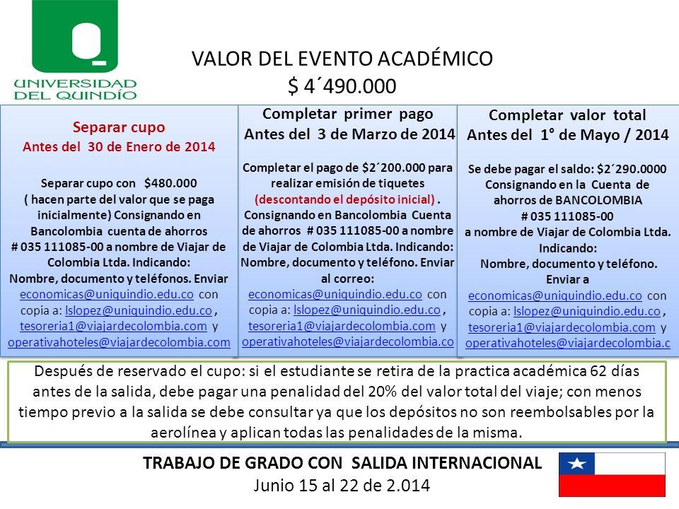 VALOR DEL EVENTO ACADÉMICO $ 4´490.000
