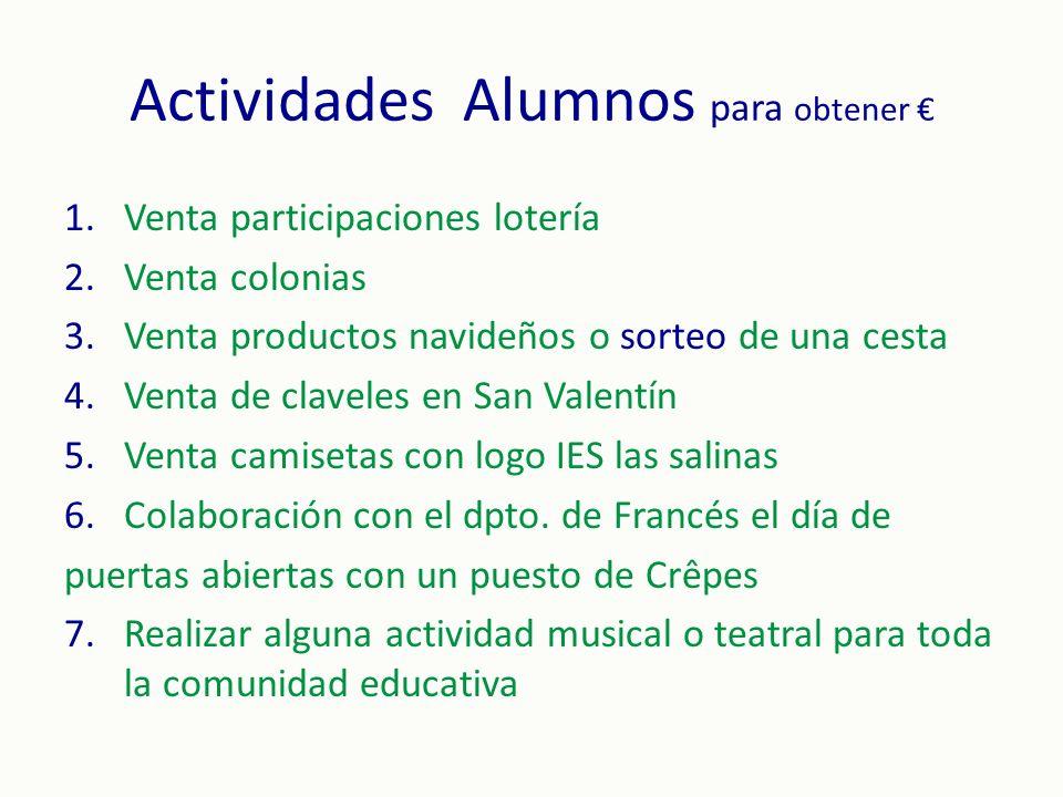 Actividades Alumnos para obtener €