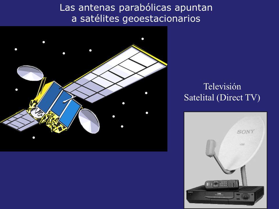 Las antenas parabólicas apuntan a satélites geoestacionarios