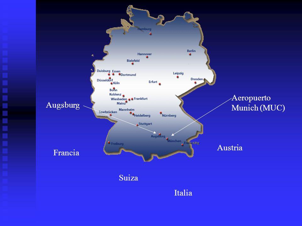 Aeropuerto Munich (MUC) Augsburg Austria Francia Suiza Italia