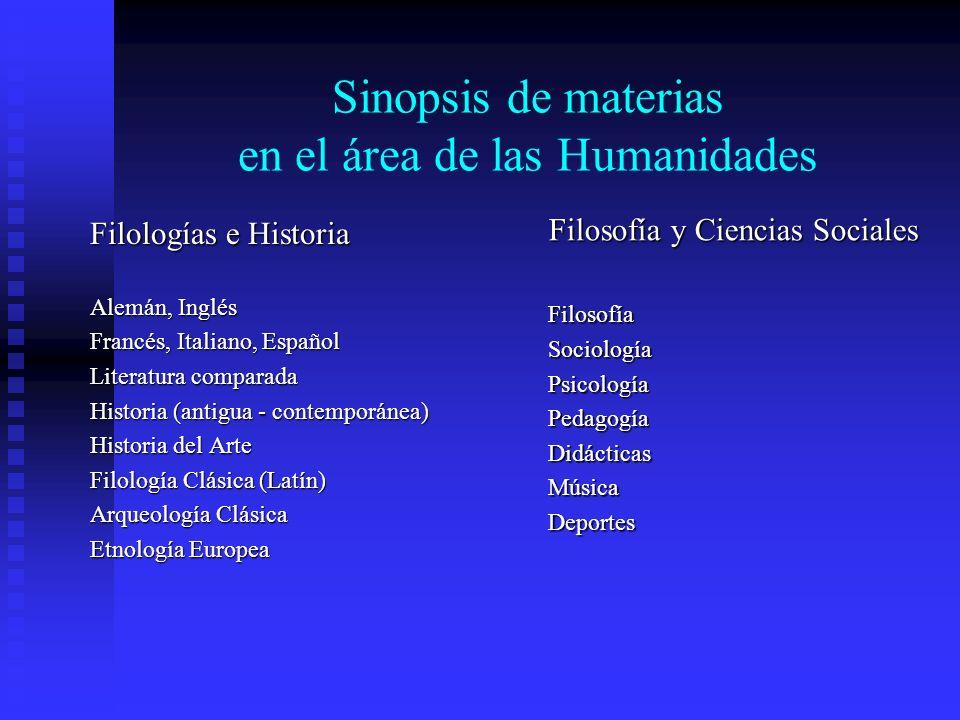 Sinopsis de materias en el área de las Humanidades