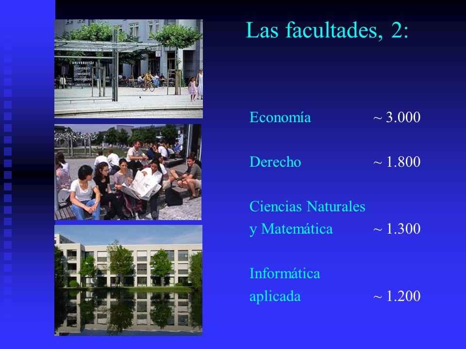 Las facultades, 2: Economía ~ 3.000 Derecho ~ 1.800 Ciencias Naturales