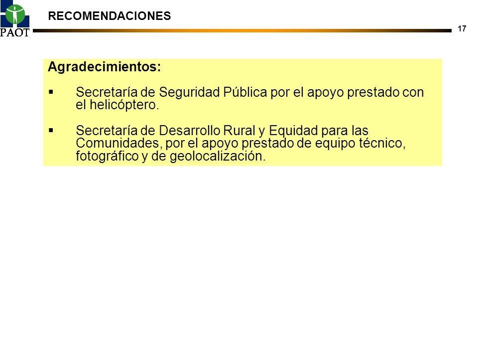 RECOMENDACIONES Agradecimientos: Secretaría de Seguridad Pública por el apoyo prestado con el helicóptero.