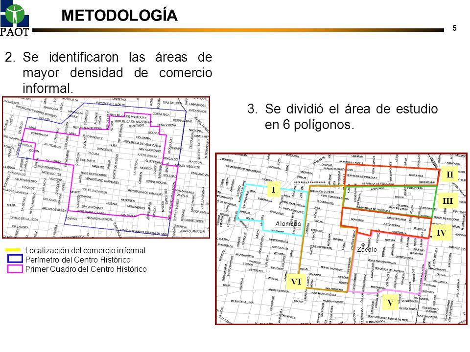 METODOLOGÍA Se identificaron las áreas de mayor densidad de comercio informal. Localización del comercio informal.