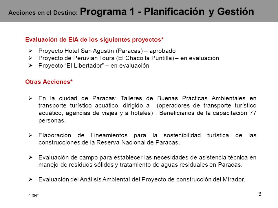 Acciones en el Destino: Programa 1 - Planificación y Gestión