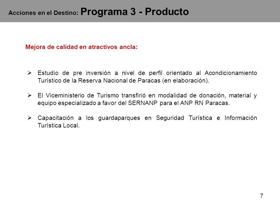 Acciones en el Destino: Programa 3 - Producto