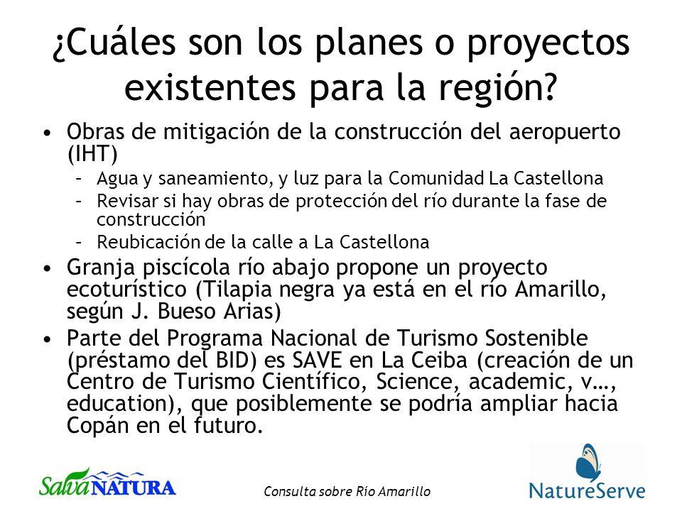 ¿Cuáles son los planes o proyectos existentes para la región