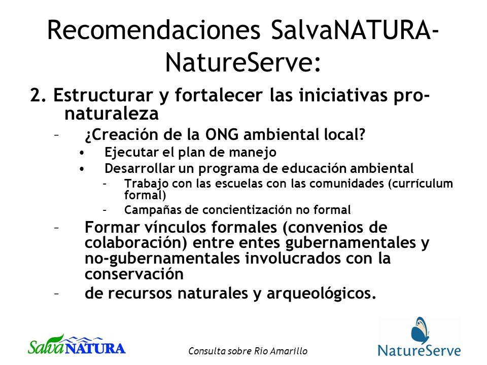 Recomendaciones SalvaNATURA-NatureServe: