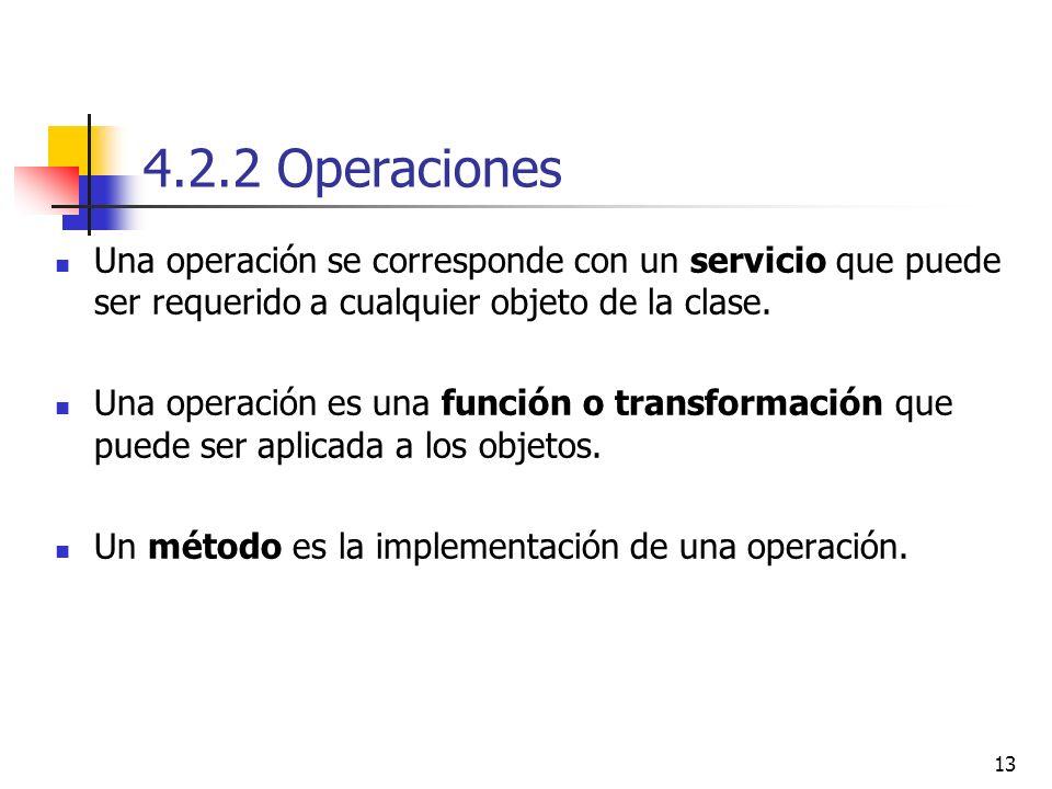 4.2.2 Operaciones Una operación se corresponde con un servicio que puede ser requerido a cualquier objeto de la clase.