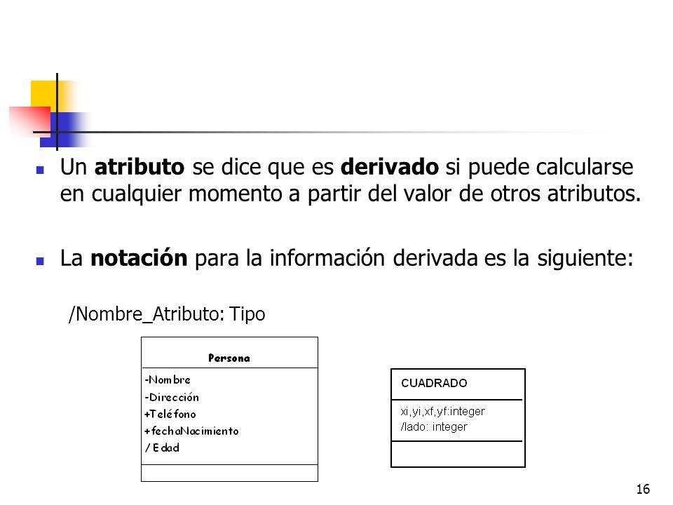 La notación para la información derivada es la siguiente: