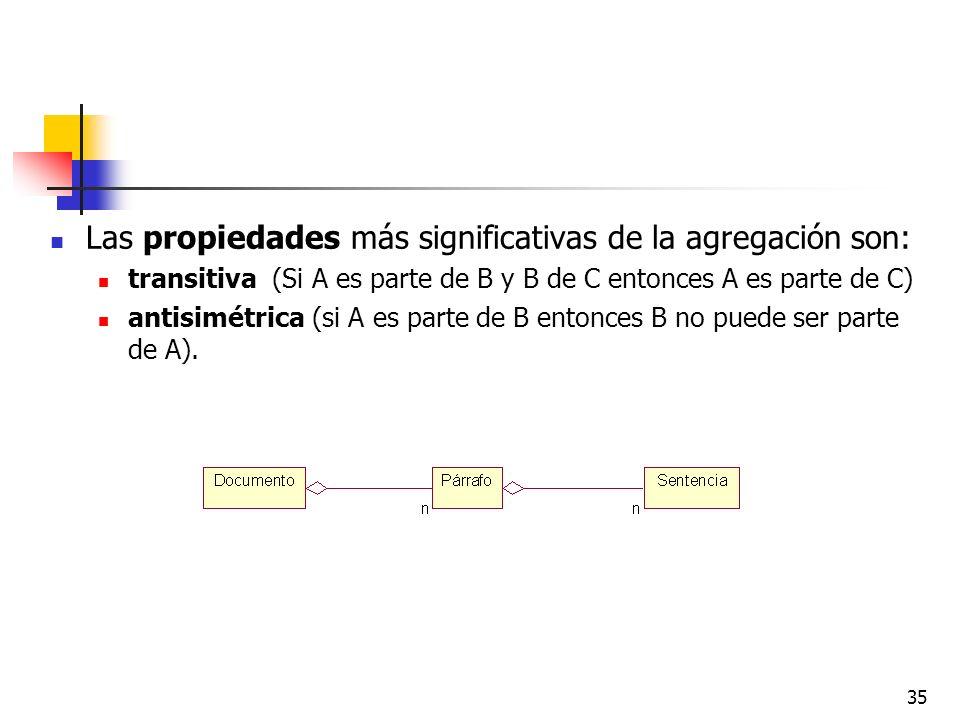 Las propiedades más significativas de la agregación son: