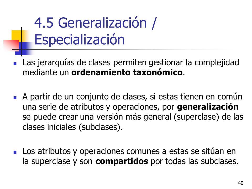 4.5 Generalización / Especialización