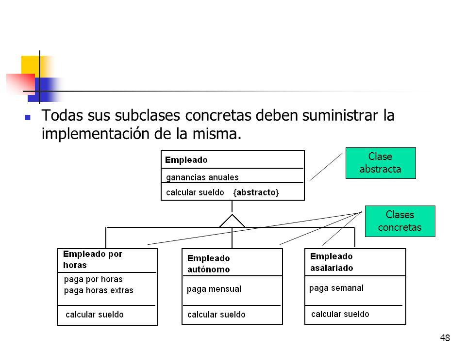 Todas sus subclases concretas deben suministrar la implementación de la misma.
