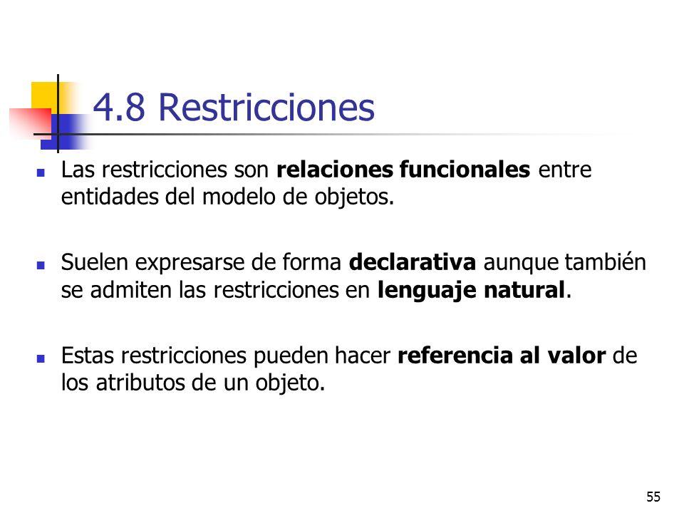 4.8 Restricciones Las restricciones son relaciones funcionales entre entidades del modelo de objetos.
