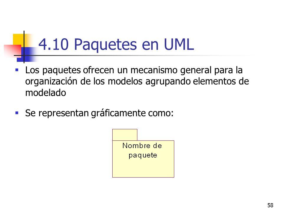 4.10 Paquetes en UML Los paquetes ofrecen un mecanismo general para la organización de los modelos agrupando elementos de modelado.