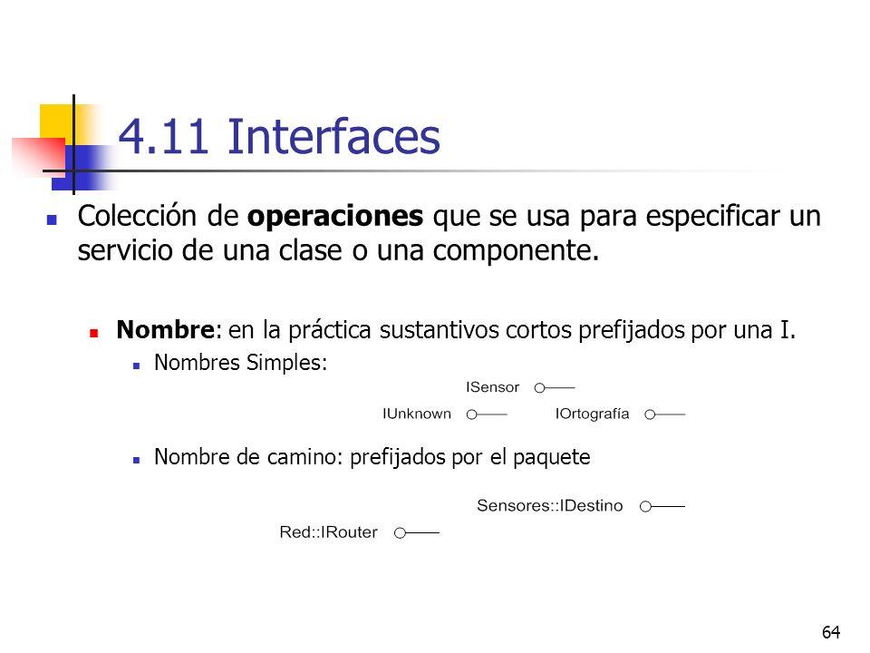 4.11 Interfaces Colección de operaciones que se usa para especificar un servicio de una clase o una componente.
